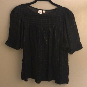 Sparkly Party Top With Sheer Neck and Sleeves